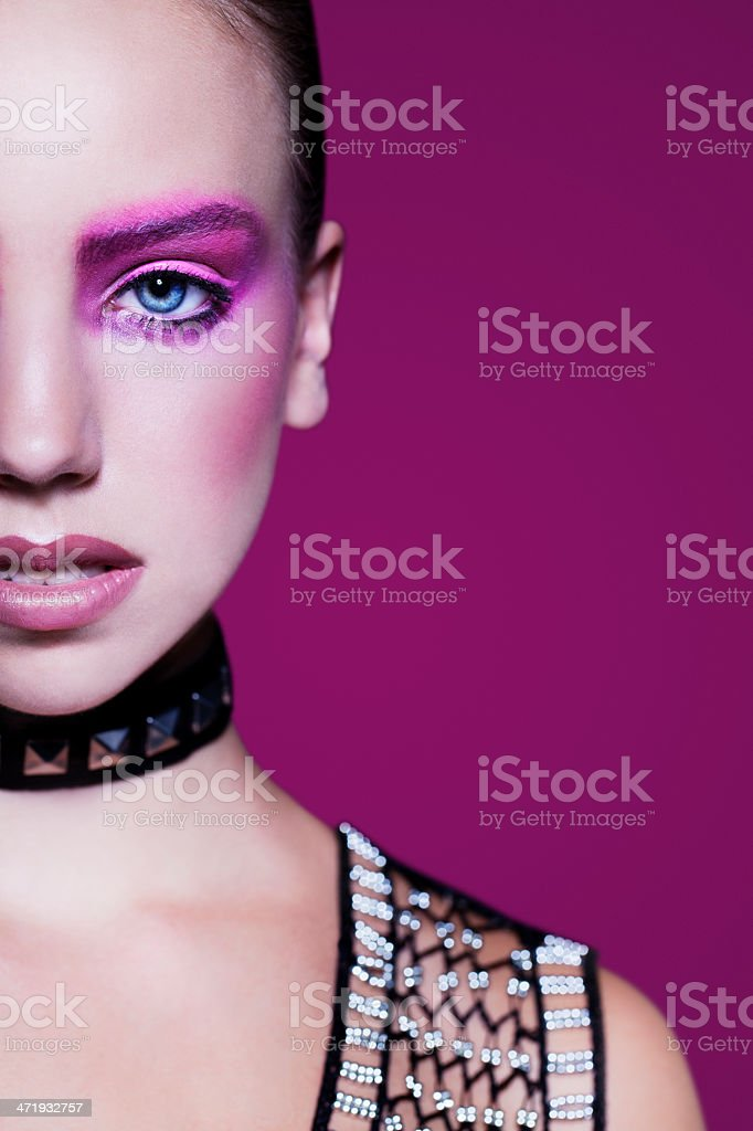 Metallic Pink Beauty Portrait stock photo