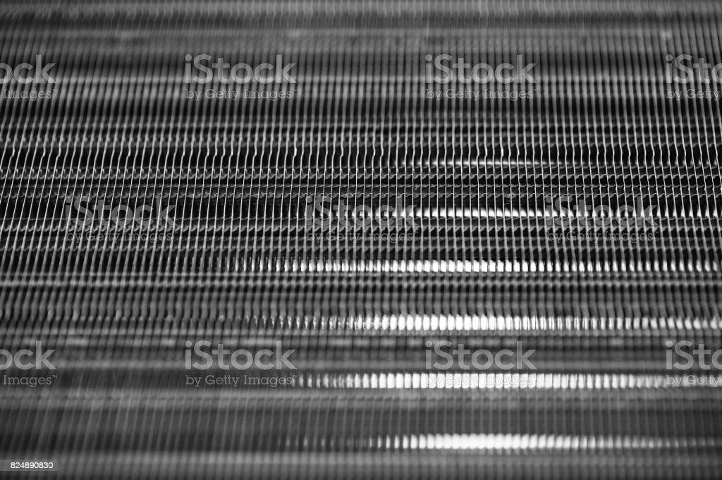 Metallic ribbed seamless texture. Radiator. stock photo