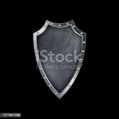 Antique shield isolated on black background.