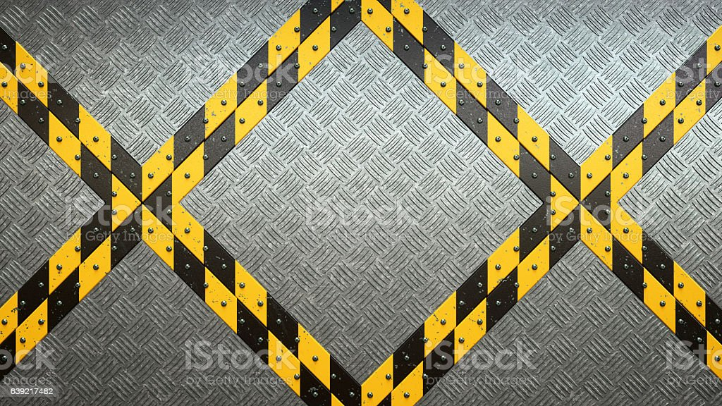 Metallic Rugged Industrial Flooring With Danger Stripes stock photo
