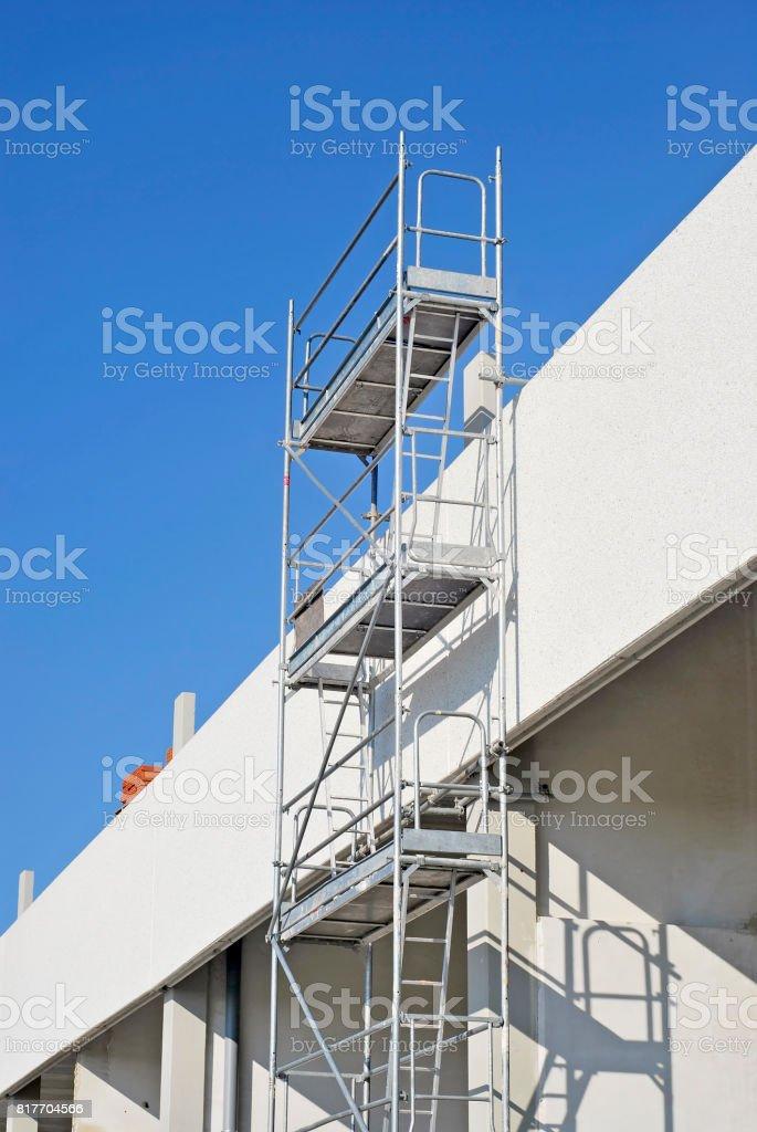 Metallic scaffold stock photo