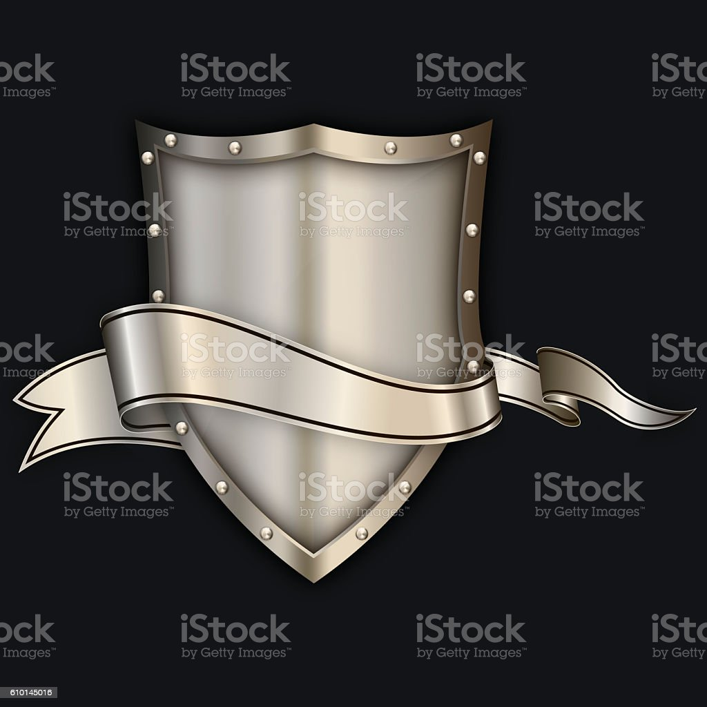 Metallic shield with chromed rivets and ribbon. stock photo