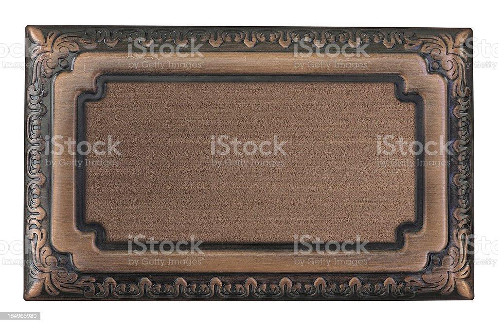Metallic sign plate stock photo