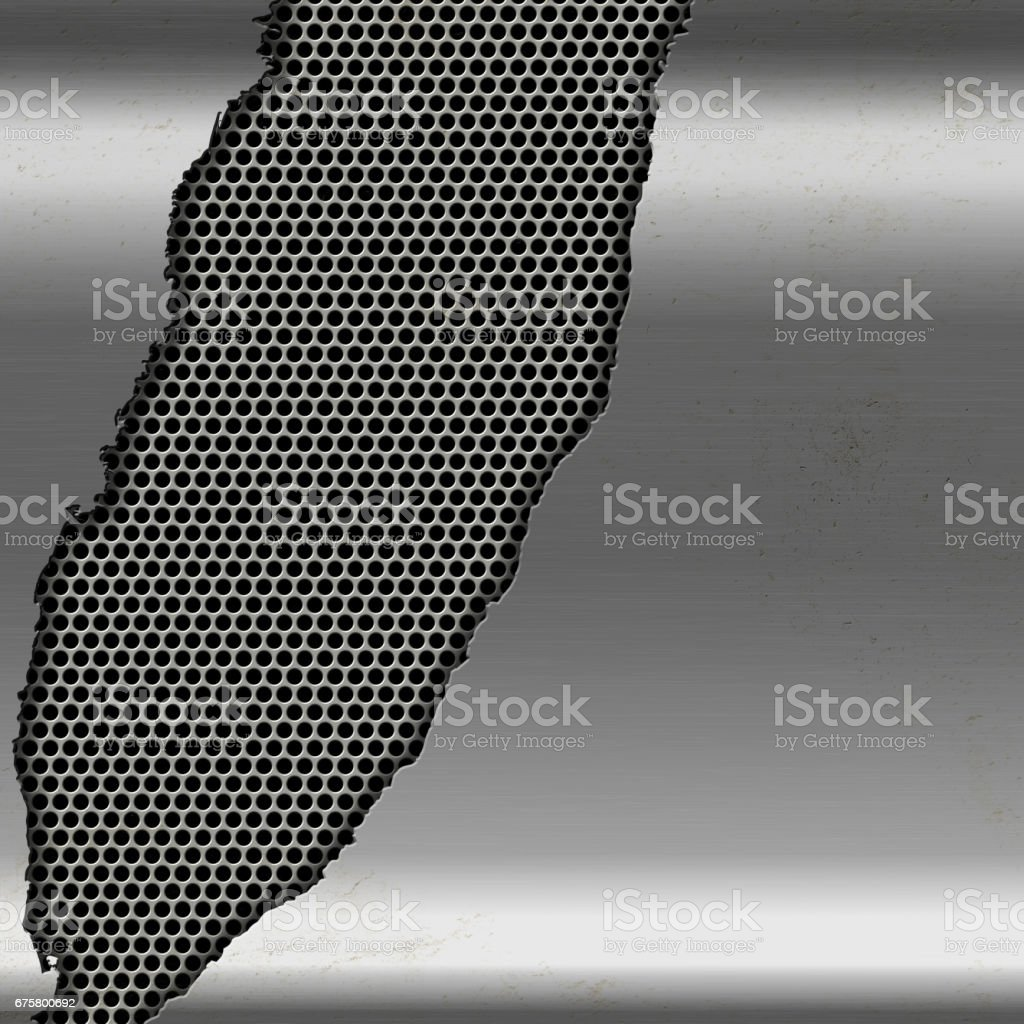 Metallic silver background with cutout on perforated metal vector art illustration