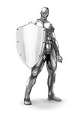 Metallic silver naked man holding shield in white background