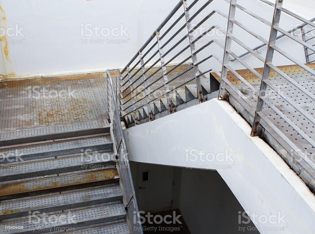 Metallic stair stock photo
