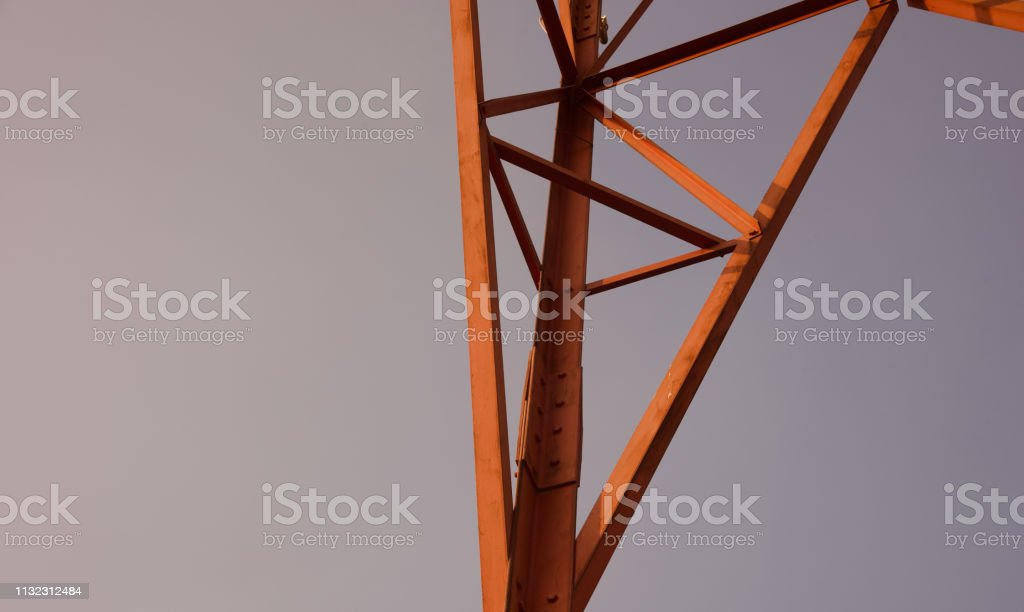 Metallic structure of a mobile network tower stock photo