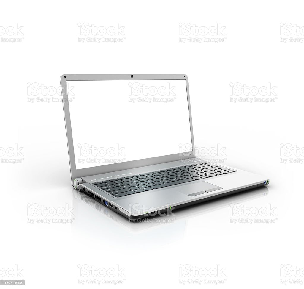 metallic stylish laptop PC stock photo