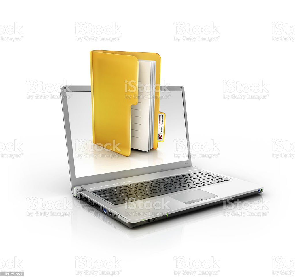 metallic stylish laptop with documents or files and folder icon stock photo
