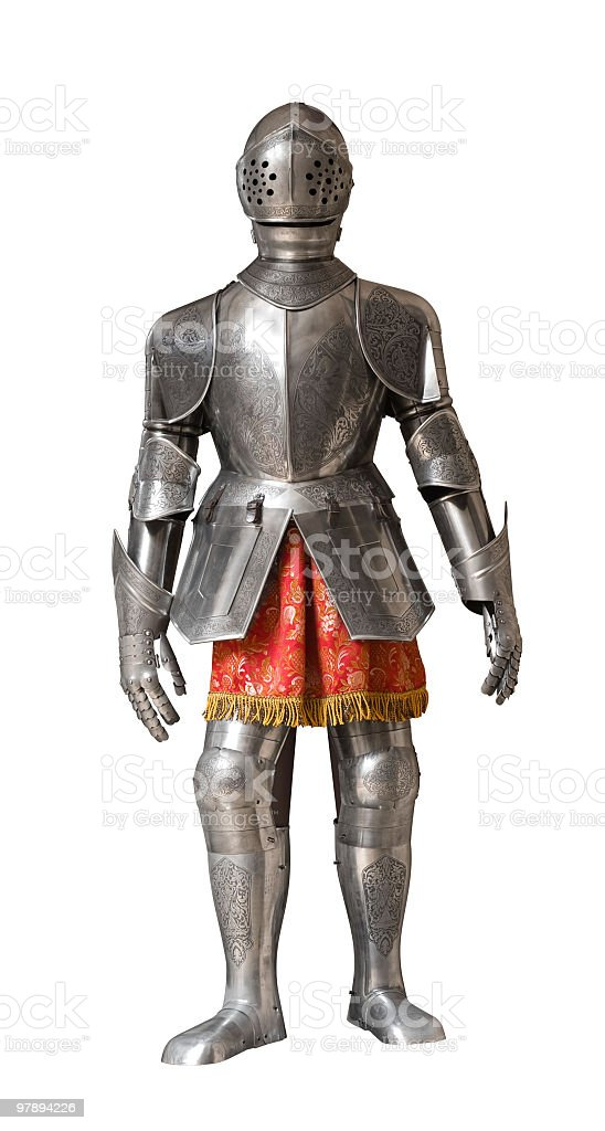 A metallic suit of armor for a knight royalty-free stock photo