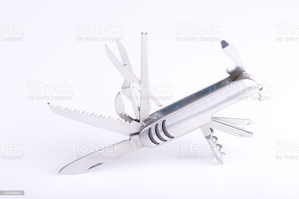 metallic swiss army knife royalty-free stock photo