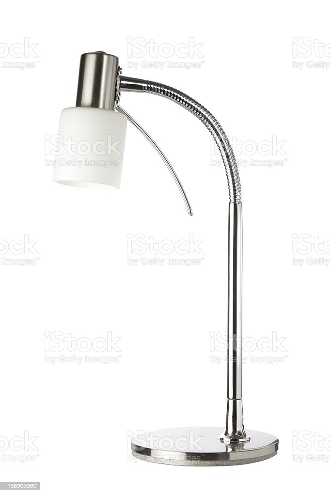 Metallic Table Lamp. On a white background. royalty-free stock photo