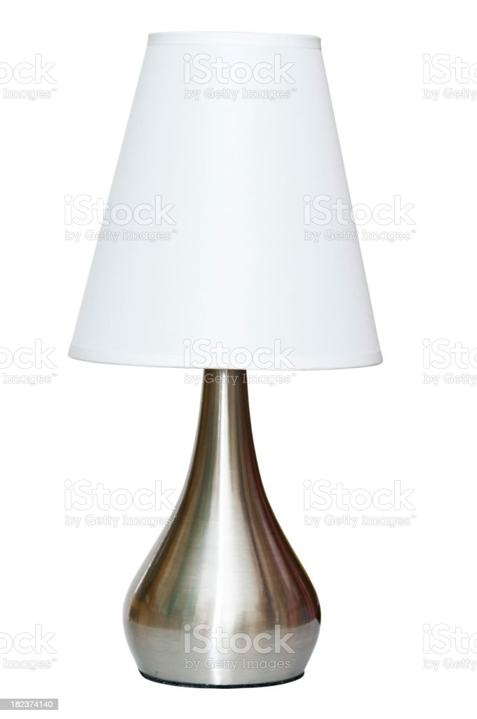 Metallic table lamp with white shade and clipping path stock photo