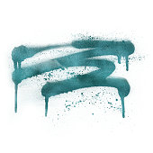 istock Metallic teal spray paint splatter isolated on white, illustration. 1191587593