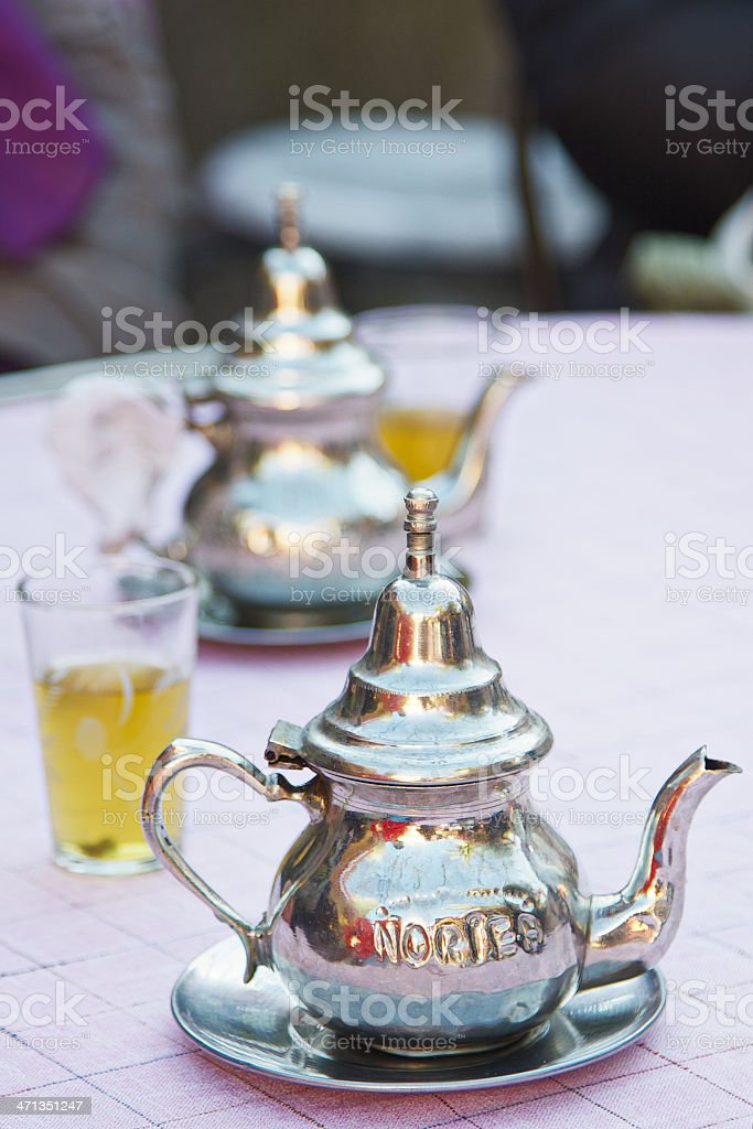 Metallic teapots in a Fez restaurant. Morocco. royalty-free stock photo