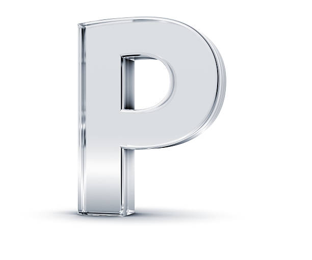 Metallic three dimensional letter P 3D rendering of letter P made of transparent glass with Shades and Shadow isolated on white background. letter p stock pictures, royalty-free photos & images