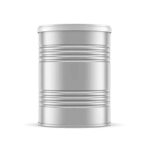 metalen blikje mockup, verpakkingen voor baby melkpoeder of voedsel - voorraadbus stockfoto's en -beelden