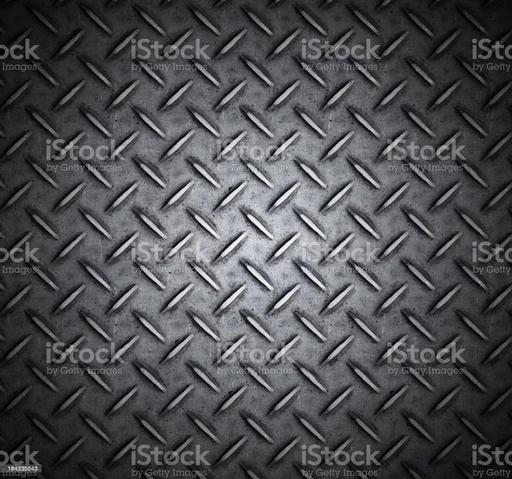 Metallic treaded plate with cross design stock photo