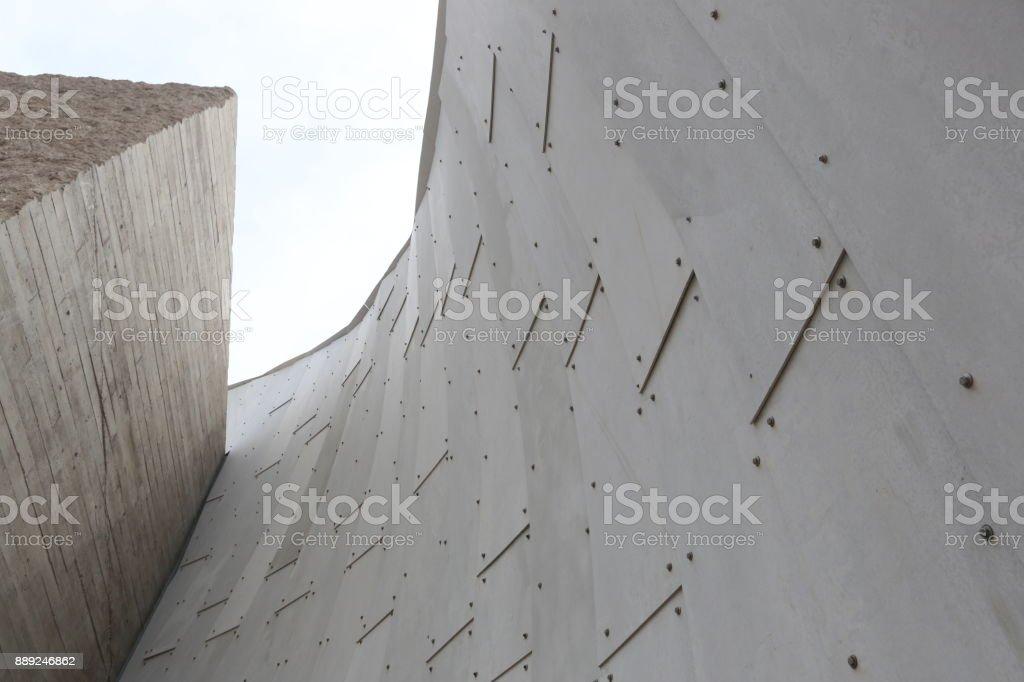 Metallic wall on sky background stock photo