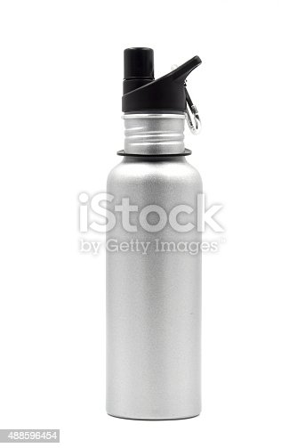 istock Metallic water bottle with a carabiner clip on white background. 488596454
