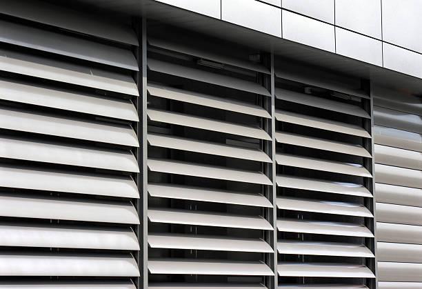 metallic  window shutter at the  office building - foto stock