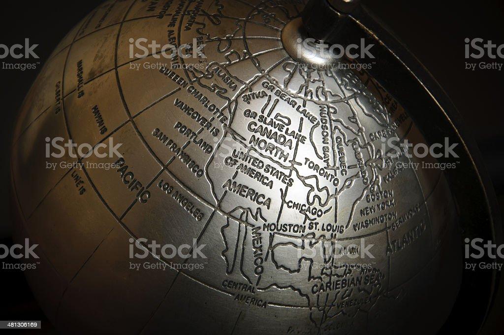 metallic world map north america stock photo
