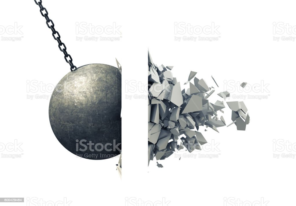Metallic Wrecking Ball Shattering Wall stock photo