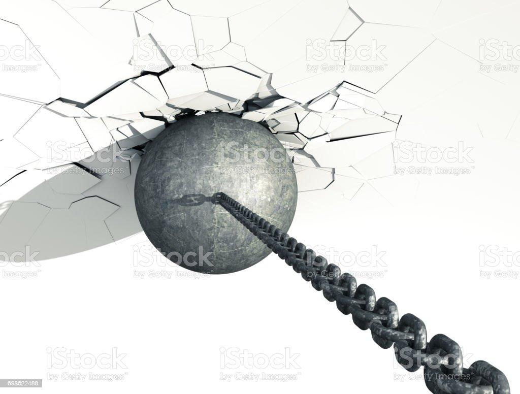 Metallic Wrecking Ball Shattering White Wall. Top view. stock photo