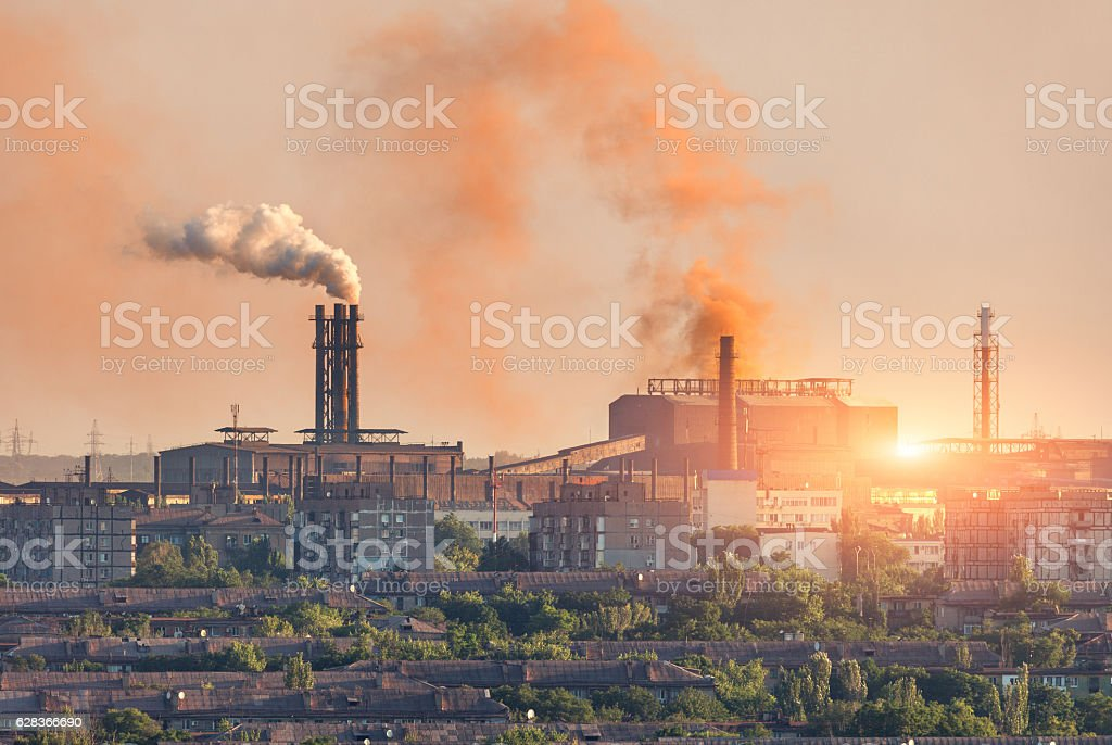 Metallurgy plant at sunset. Steel mill. Heavy industry factory stock photo