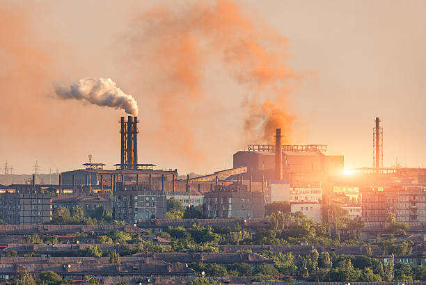 metallurgy plant at sunset. steel mill. heavy industry factory - metallurgy stock photos and pictures