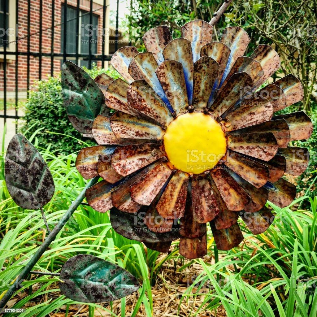 Metalwork Daisy Sculpture stock photo