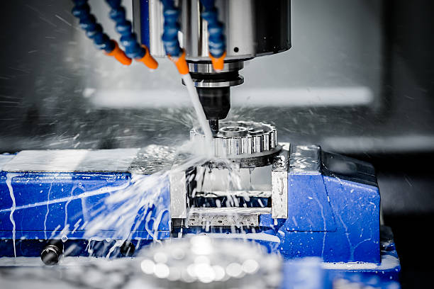 Metalworking CNC milling machine. Metalworking CNC milling machine. Cutting metal modern processing technology. metal worker stock pictures, royalty-free photos & images