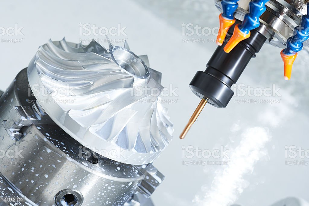 metalworking cutting process by milling cutter stock photo