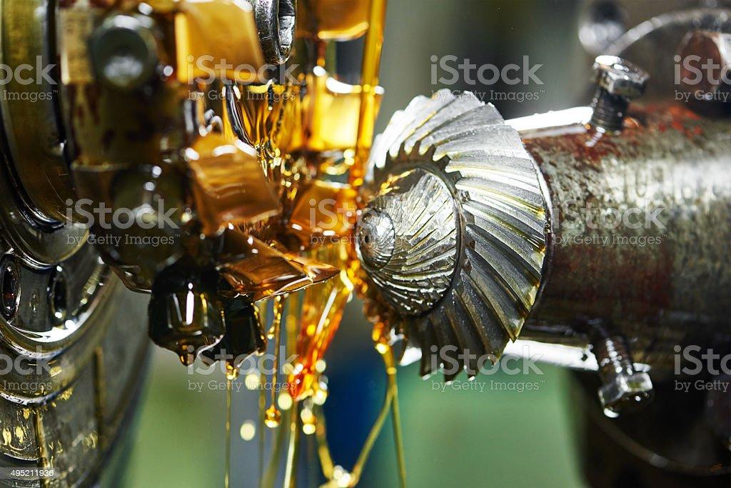 metalworking: gearwheel machining stock photo