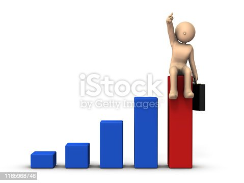 A metaphor representing business success. Big graph and businessman character. It represents a challenge. White background. 3D illustration.