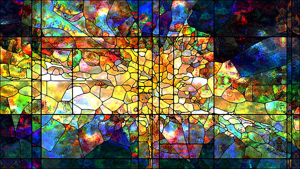 metaphorical stained glass - church stock photos and pictures