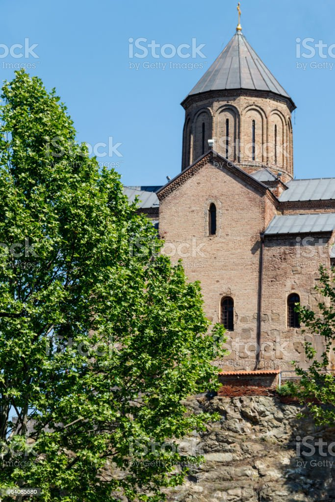 Metekhi temple or Church of Dormition of the Virgin Mary in Tbilisi, Georgia - Royalty-free Ancient Stock Photo