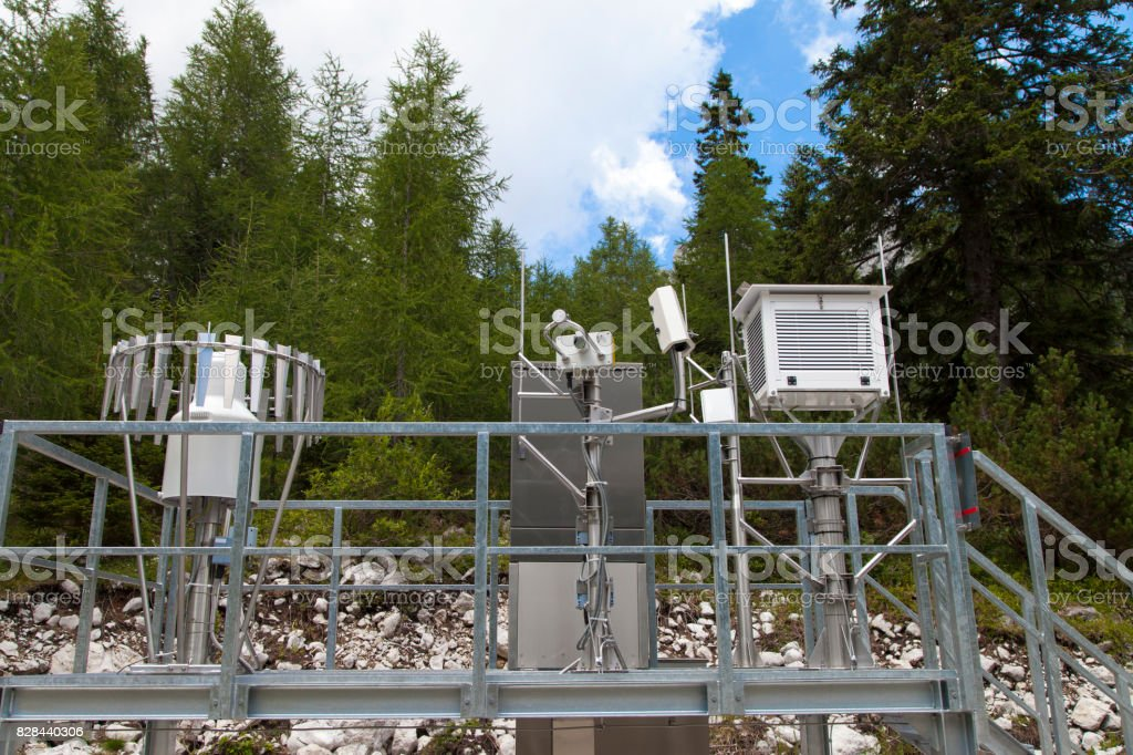 Meteo Scientific weather station in the mountains stock photo