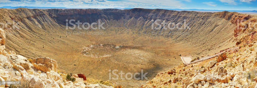 Meteor crater also known as Barringer crater in Arizona stock photo