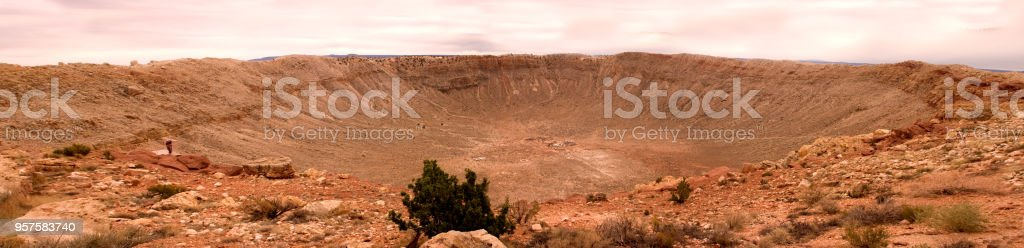 Meteor Crater Arizona along highway historic Route 66 stock photo