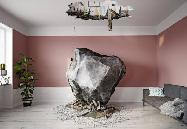 meteor falling into the living room. stock photo