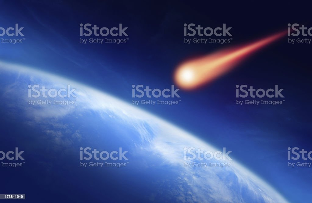 Meteor Falling to the Earth stock photo