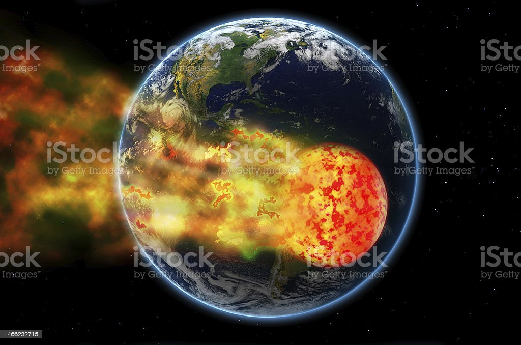 Meteor hiting Earth royalty-free stock photo