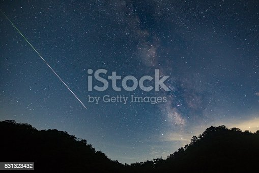 A meteor shoots across the night sky sky leaving a trail of light across the milky way