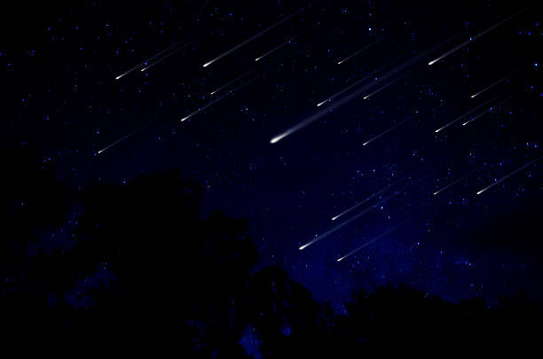 meteor shower in night sky illustration - shooting stars stock photos and pictures