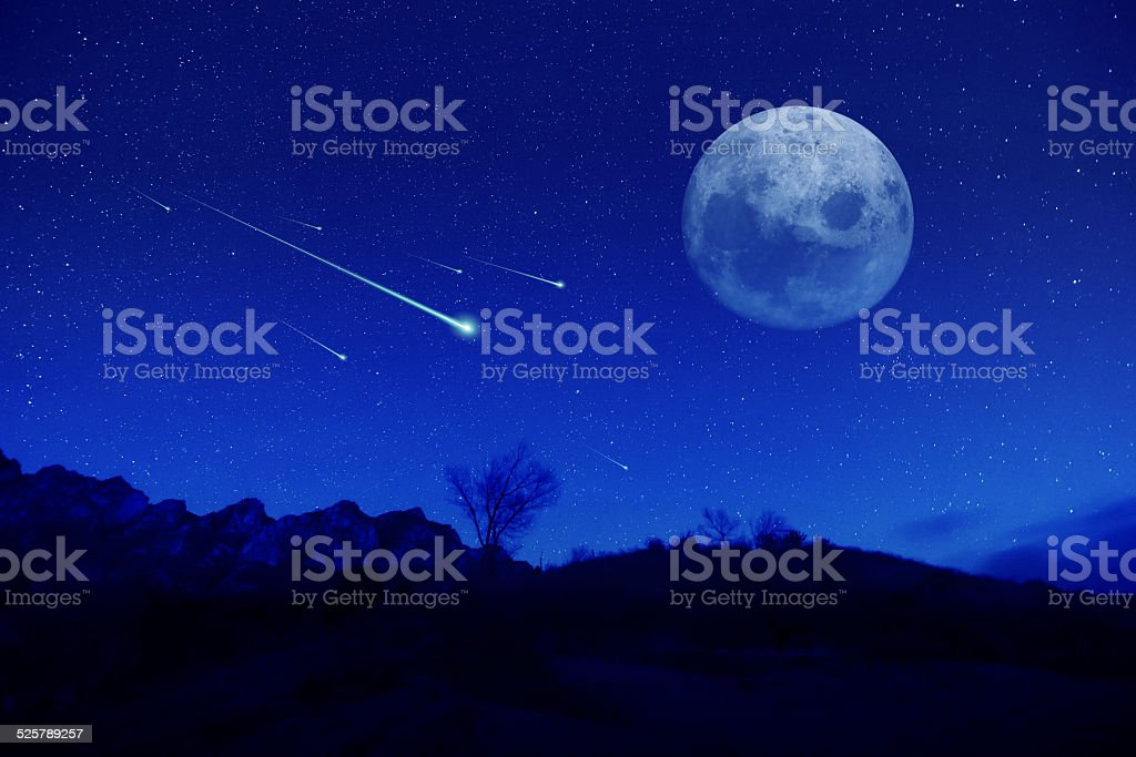 meteor shower stock photo