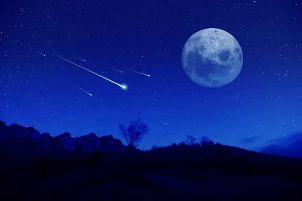 meteor shower - shooting stars stock photos and pictures