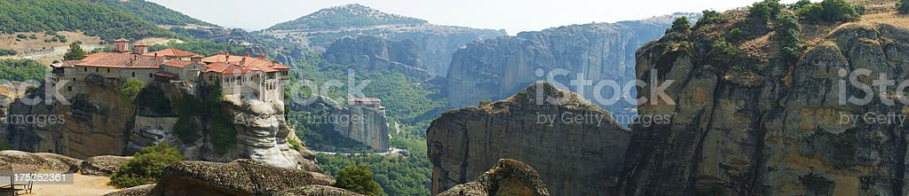 Meteora Clifftop Monasteries Panorama royalty-free stock photo