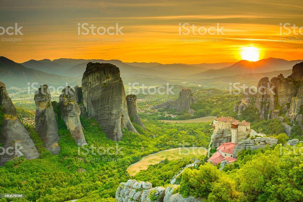 Meteora monasteries at sunset, Greece stock photo