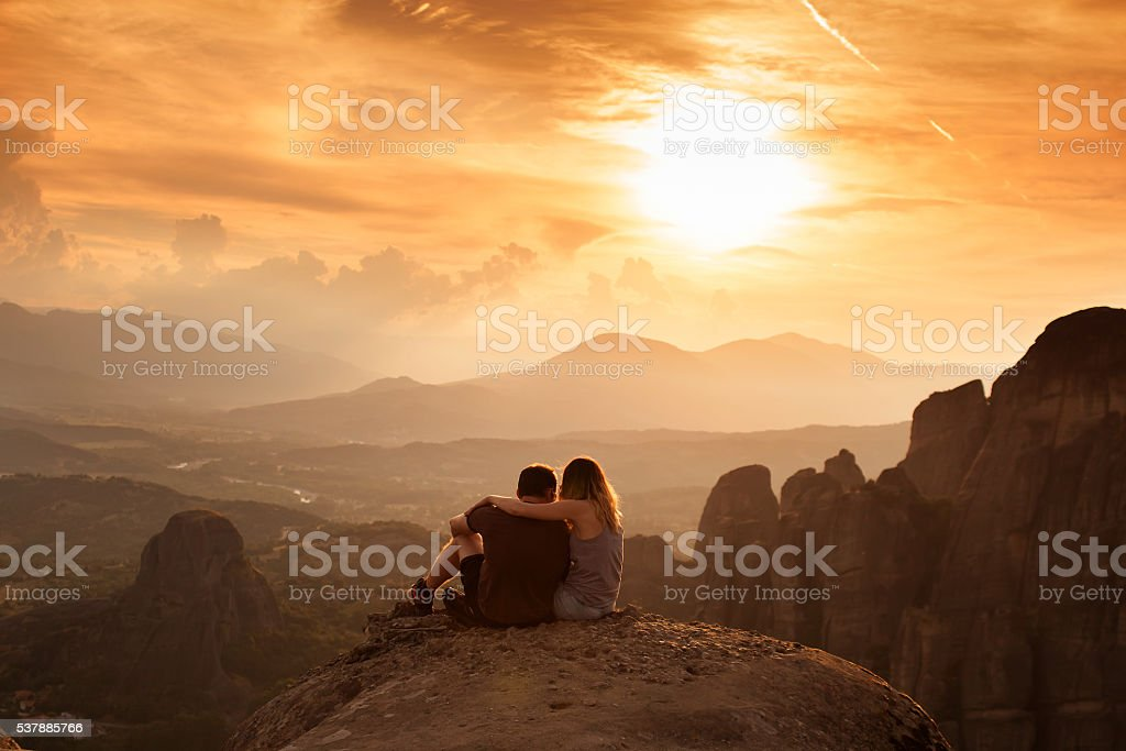 Meteora Monasteries on the sunset stock photo